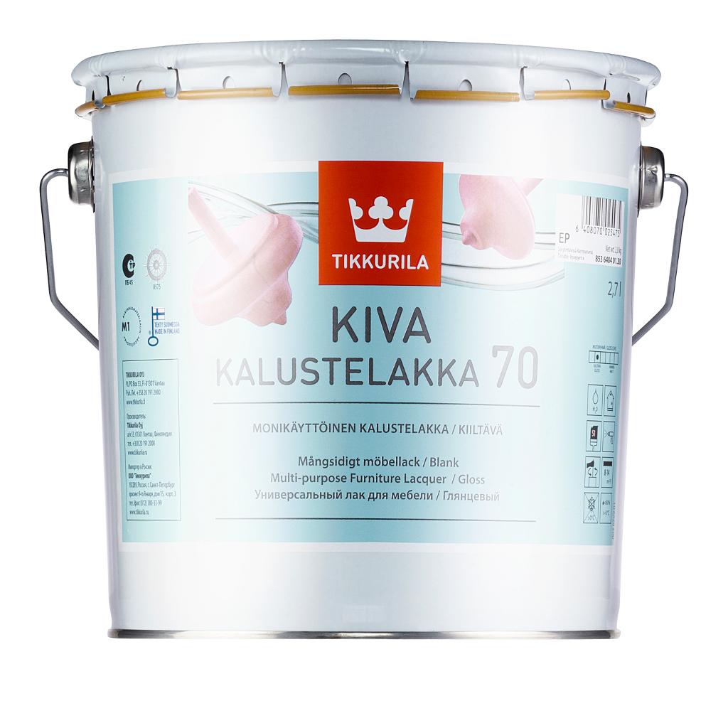Tikkurila Kiva Kalustelakka, 2.7 л, Лак для дерева прозрачный глянцевый фото