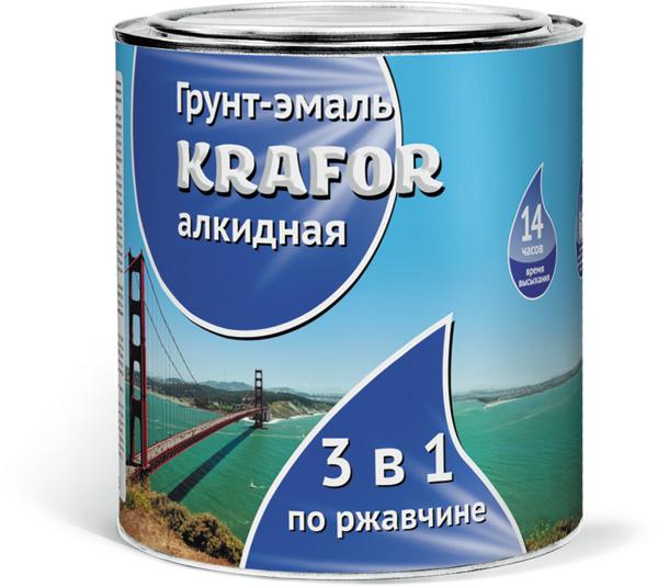 Krafor 3 в 1 1 кг, Эмаль алкидная по ржавчине (зеленая) фото