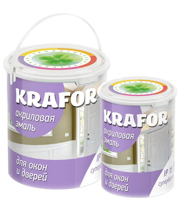 Krafor 1 кг, Эмаль акриловая для окон и дверей (супербелая) фото