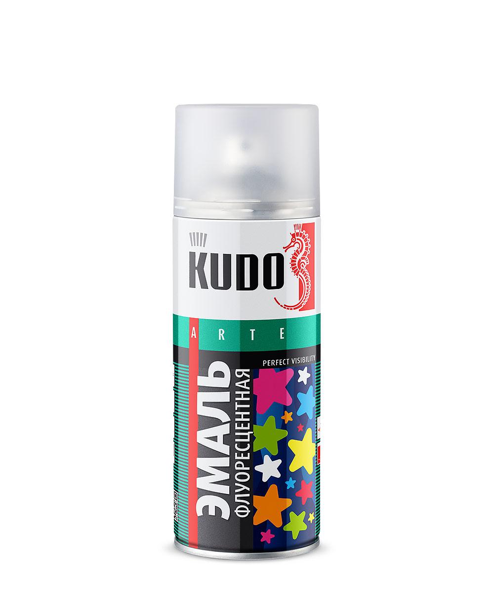 Kudo KU-1206 520 мл, Эмаль аэрозольная для декора Флуоресцентная (оранжево-красная) фото