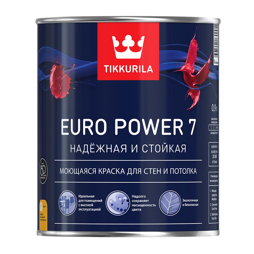 Tikkurila Euro Power 7 0,9 л, Краска интерьерная латексная (белая) фото
