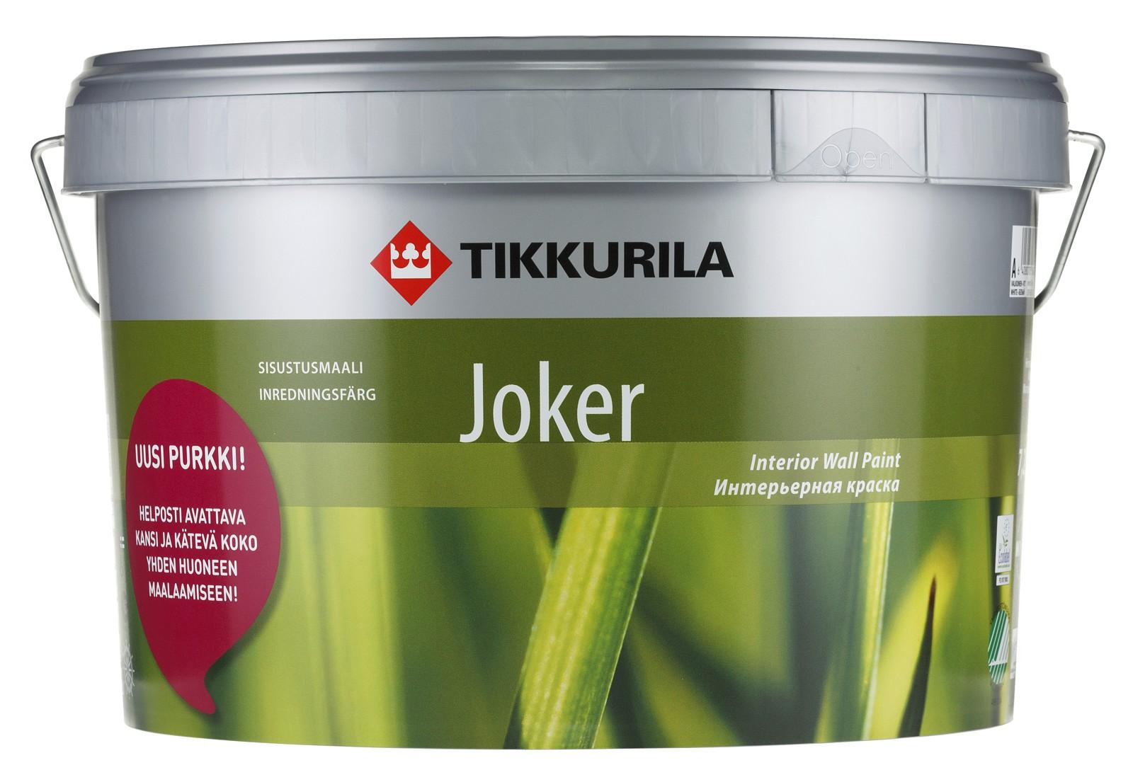 Tikkurila Jocker A 9 л, Краска интерьерная акрилатная (белая) фото