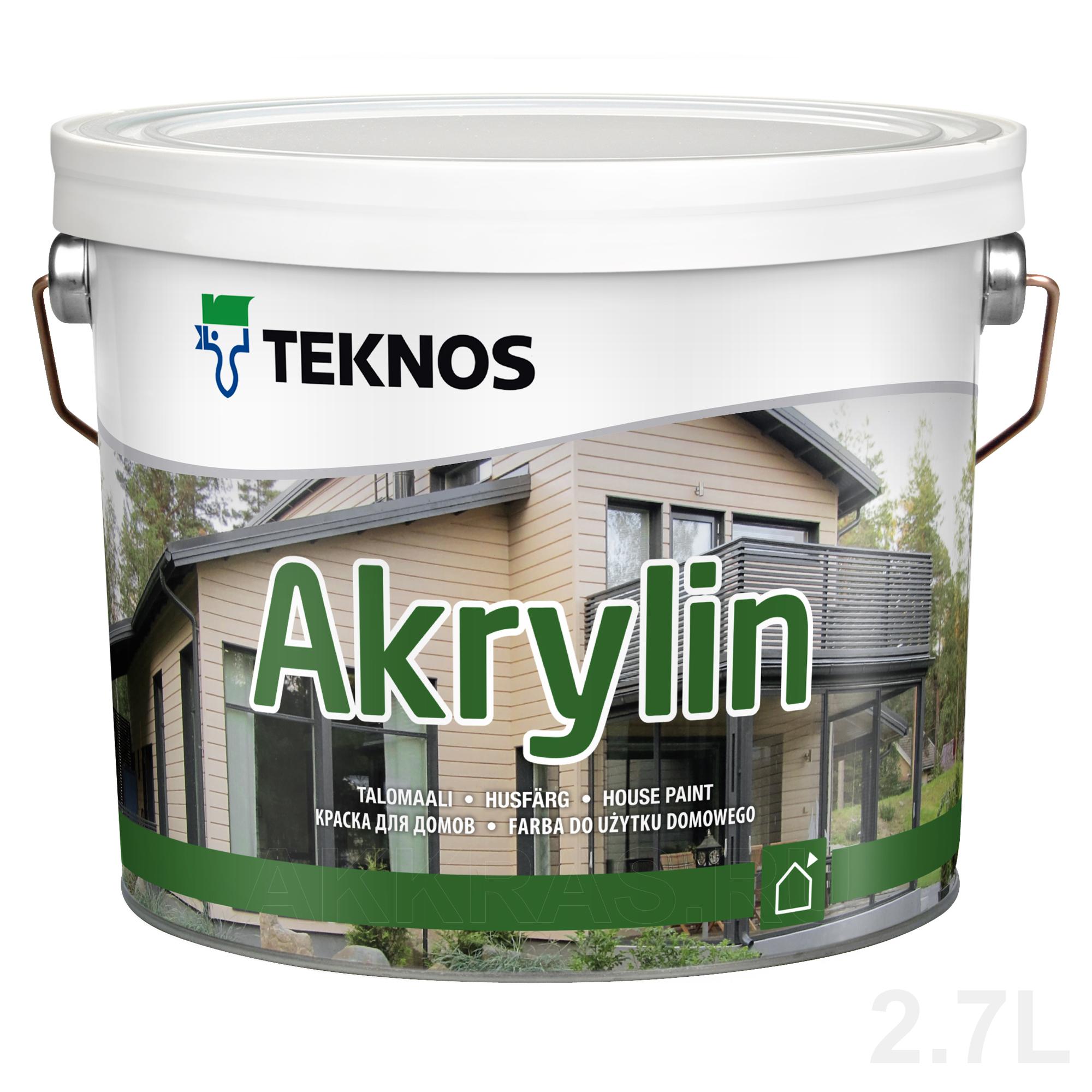 Teknos Akrylin белая, 2,7 л, Краска фасадная по дереву акрилатная фото