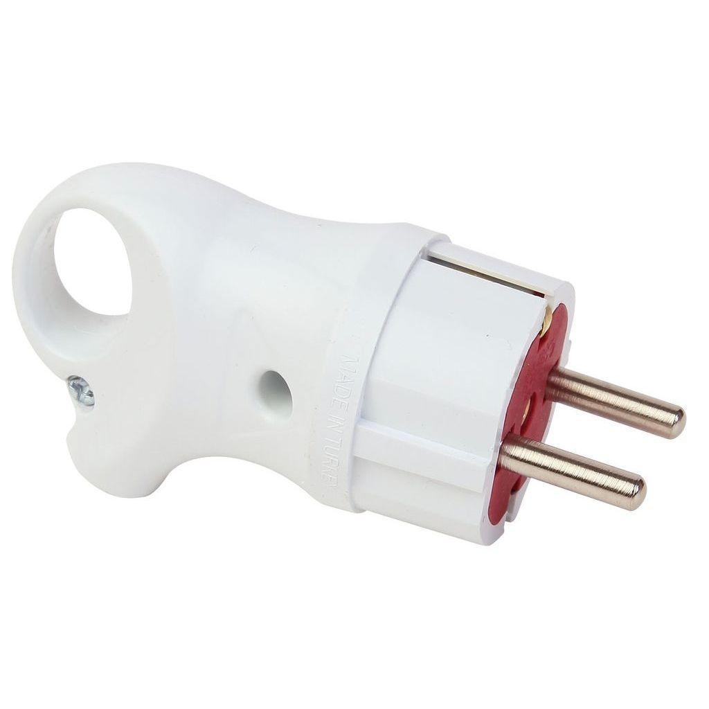 Вилка электрическая FAR F182 угловая с заземлением с кольцом