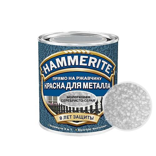 Hammerite Hammered, 0,75 л, Краска по металлу антикоррозийная алкидная серебристо-серая молотковая фото