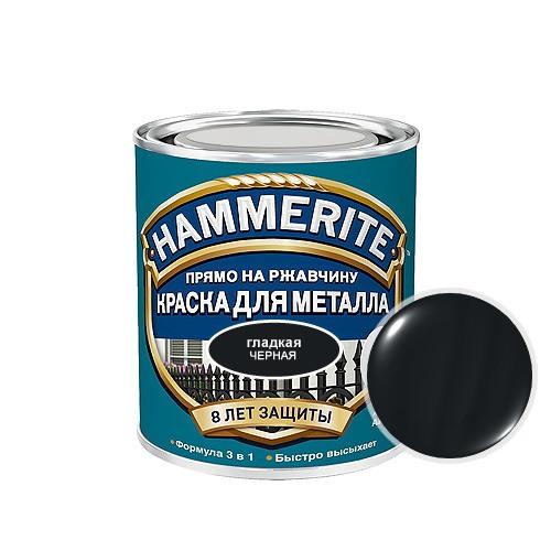 Hammerite Smooth, 5 л, Краска по металлу антикоррозийная алкидная черная фото
