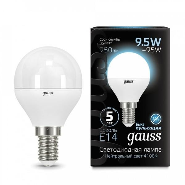 Gauss LED Globe E14 9.5W 4100K, Лампа фото