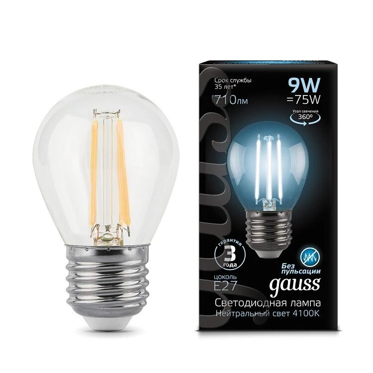 Gauss LED Filament Globe E27 9W 4100K, Лампа фото
