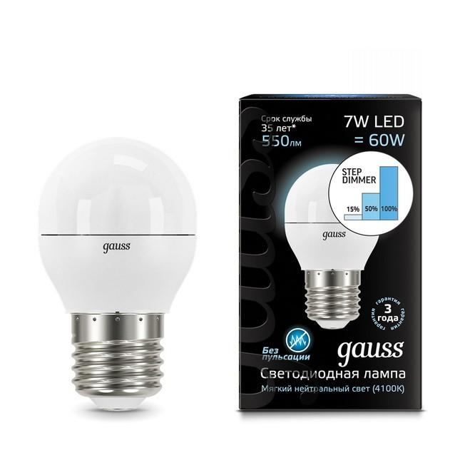 Gauss LED Globe E27 7W 4100K step dimmable, Лампа фото
