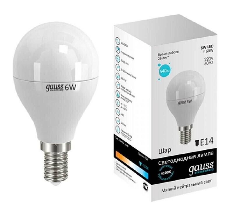 Gauss LED Elementary Globe 6W E14 4100K, Лампа фото