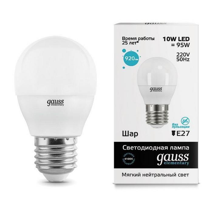 Gauss LED Elementary Globe 10W E27 4100K, Лампа фото