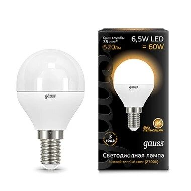 Gauss LED Globe E14 6.5W 2700K, Лампа фото