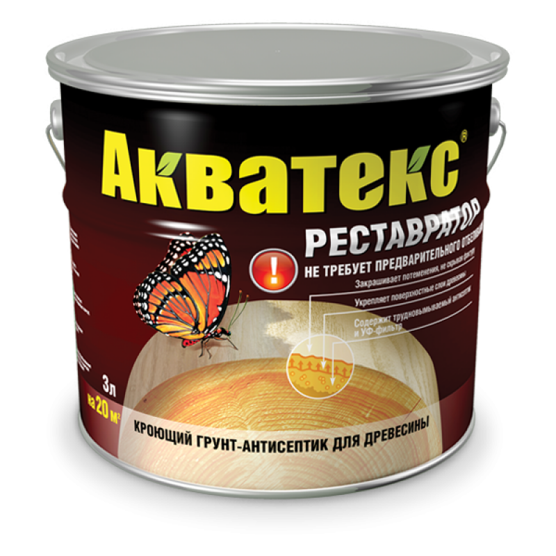 Рогнеда Акватекс Реставратор, 0.8 л, Грунт-антисептик по дереву алкидный фото
