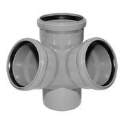 Крестовина канализационная двухпоскостная левая, диаметр 110х110х110х50 мм (угол 45°) фото